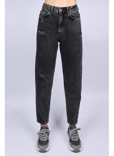 Female Project Antrasit Yırtık Detaylı Yüksek Bel Mom Jeans Antrasit
